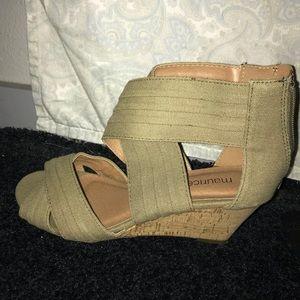 Olive green wedge heels